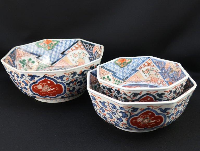伊万里色絵三つ組八角鉢