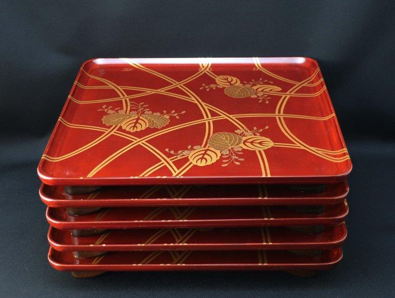 桐蒔絵膳 五枚組 / Lacquered Trays with 'Makie' picture of Paulownia  set of 5