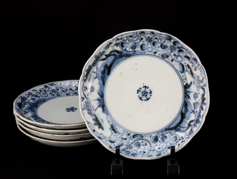 伊万里染付牡丹唐草松竹梅文七寸皿 五枚組 / Imari Blue & White Plates  set of 5