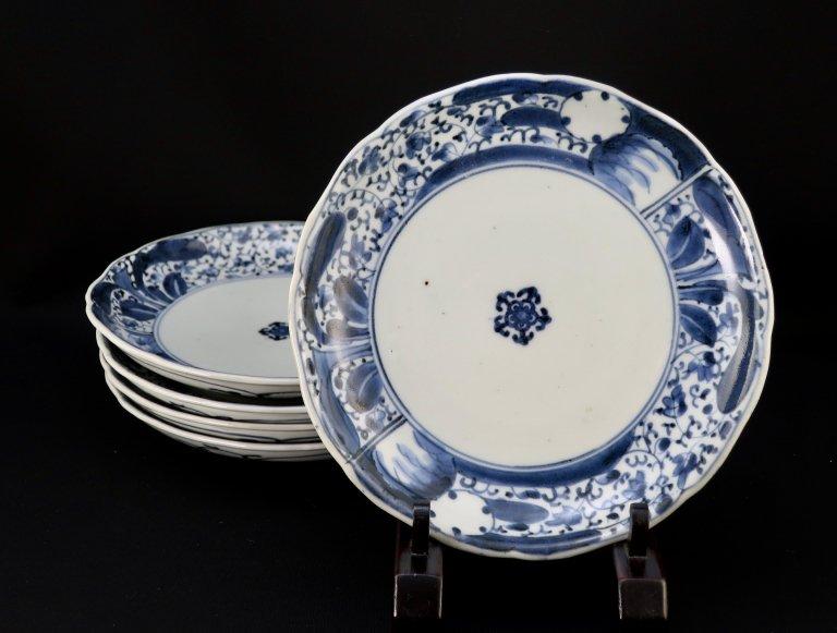 伊万里染付萩唐草雪輪文六寸皿 / Imari Blue & White Plate  set of 5