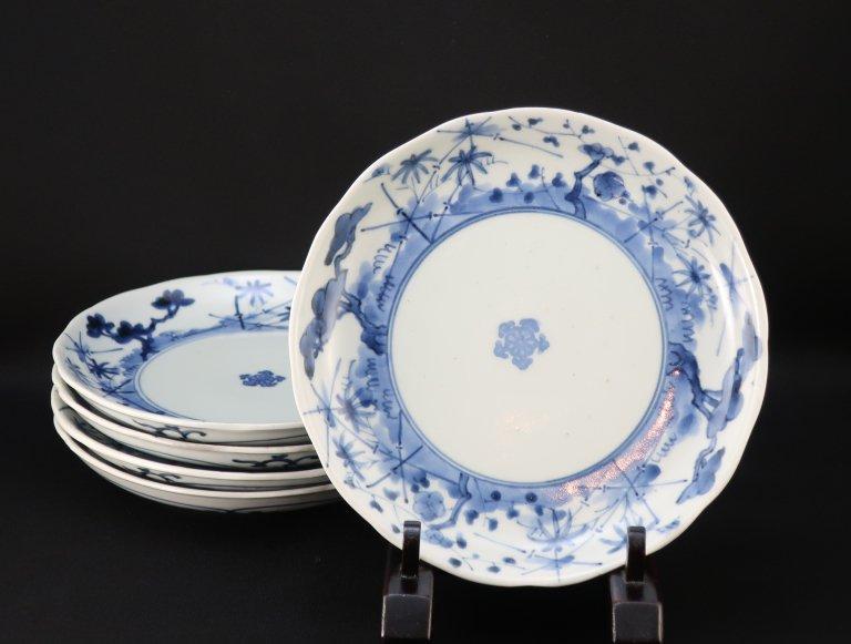 伊万里染付松竹梅竹垣文六寸皿 五枚組 / Imari Blue & White Plates  set of 5