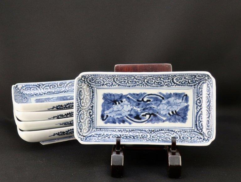 伊万里染付蛸唐草文長皿 五枚組 / Imari Rectangular Blue & White Plates  set of 5