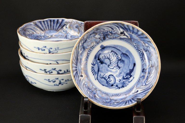 伊万里金彩染付龍鳳凰文なます皿 五枚組 / Imari Blue & White 'Namasu' Bowls  set of 5