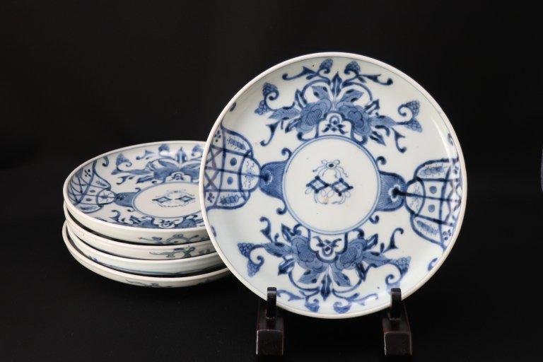伊万里染付幔幕牡丹文六寸皿 五枚組 / Imari Blue & White Plates  set of 5