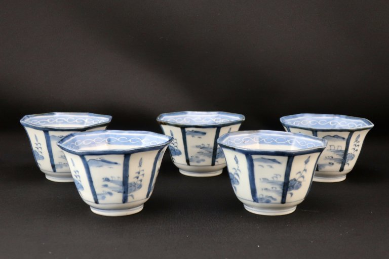 伊万里染付八角向付 五客組 / Imari Octagonal Blue & White 'Mukoduke' Cups  set of 5