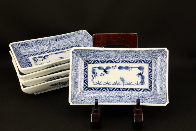 伊万里染付微塵唐草文長皿 五枚組 / Imari Rectangular Blue & White Plates  set of 5