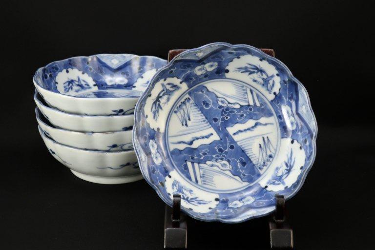 伊万里染付雪輪文なます皿 五枚組 / Imari Blue & White 'Namasu' Bowls set of 5