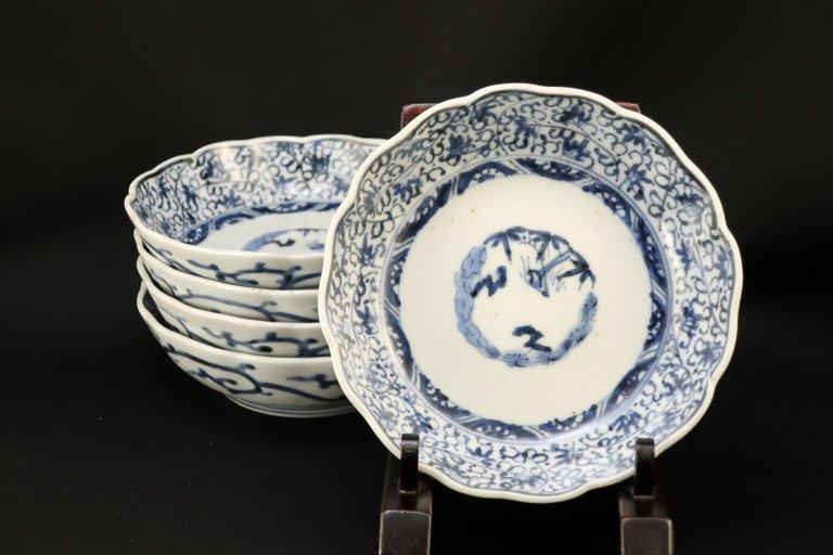 伊万里染付微塵唐草文なます皿 五枚組 / Imari Blue & White 'Namasu' Bowls  set of 5