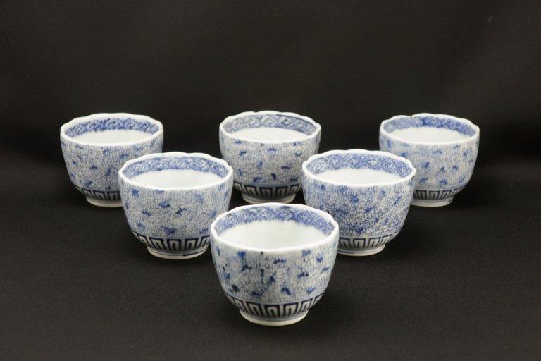 伊万里染付微塵唐草文向付 五客組 / Imari Blue & White 'Mukoduke' Cups  set of 5