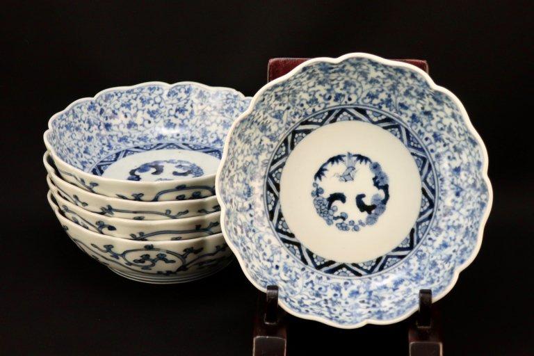 伊万里染付萩唐草文なます皿 五枚組 / Imari Blue & White 'Namasu' Bowls  set of 5