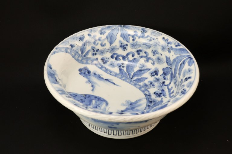 伊万里染付鹿草花文大鉢 / Imari Large Blue & White Bowl with the picture of Deer