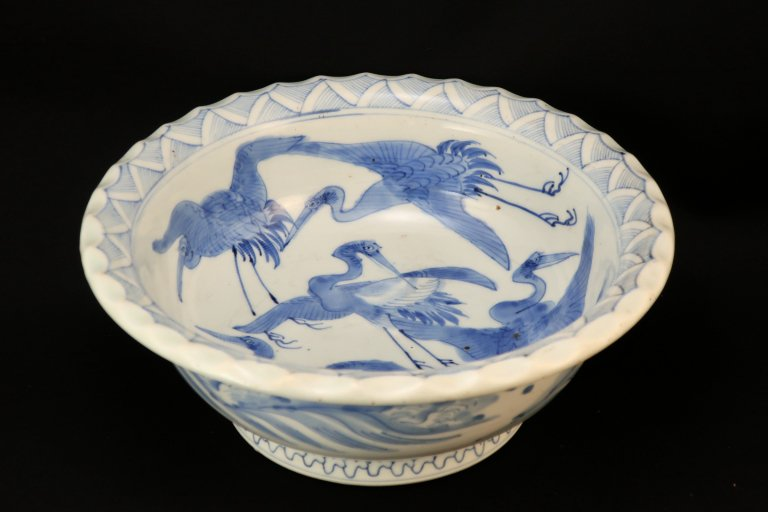 伊万里染付鶴文大鉢 / Imari Large Blue & White Bowl with the picture of Cranes