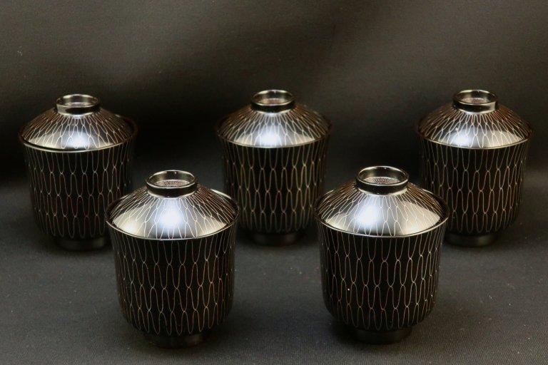 輪島塗網雲錦蒔絵小吸物椀 五客組 / Wajima- lacquered Small Soup Bowl with Lids  set of 5