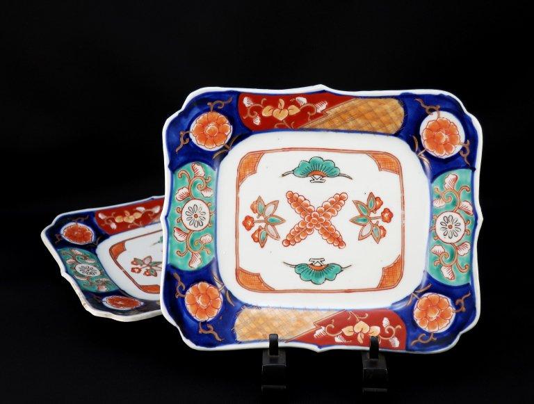 伊万里色絵変形長角皿 二枚組 / Imari Polychrome Plate  set of 2