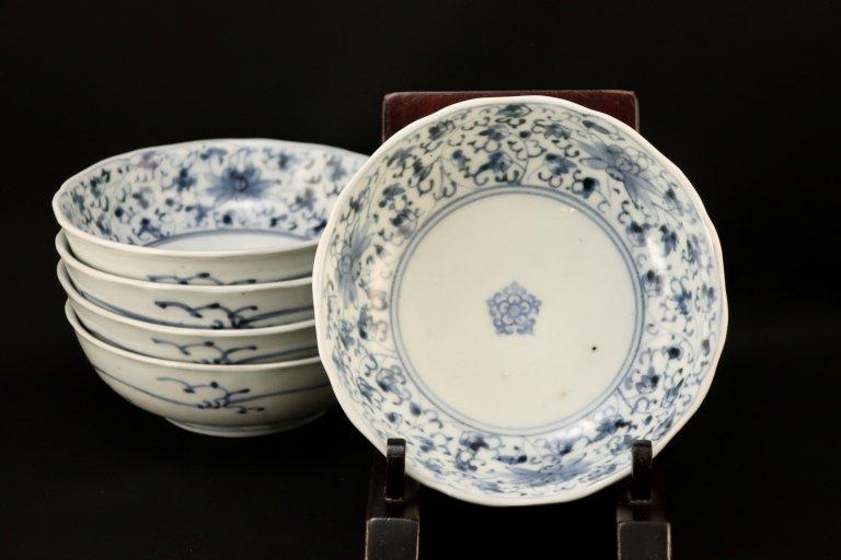 伊万里染付花唐草文なます皿 五枚組 / Imari Blue & White 'Namasu' Bowls  set of 5