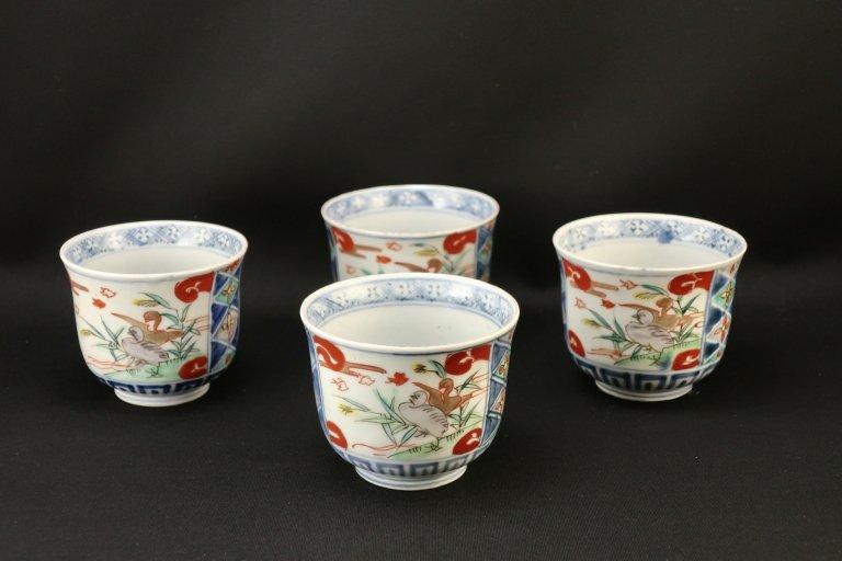 伊万里色絵向付 四客組 / Imari Polychrome 'Mukoduke' Cups  set of 4