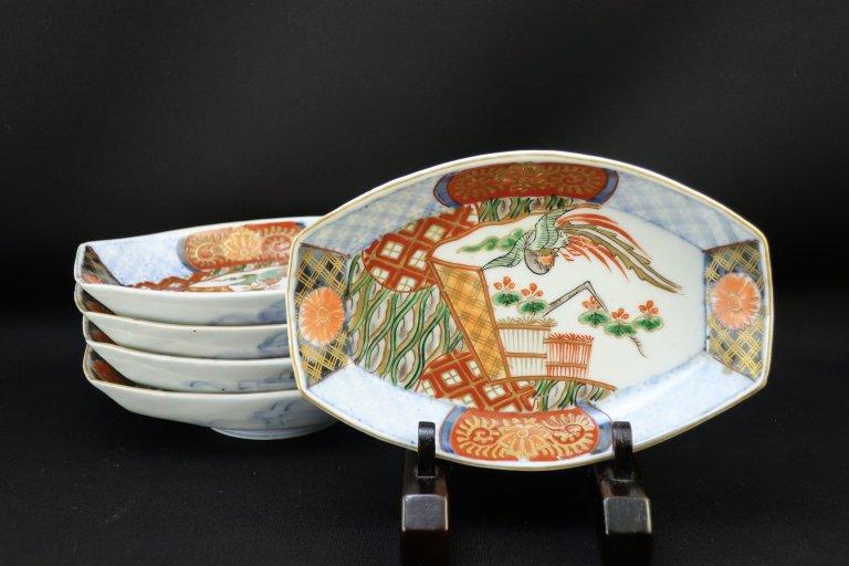 伊万里色絵鳳凰文舟形皿 五枚組 / Imari Polychrome Boat-shaped Plates  set of 5