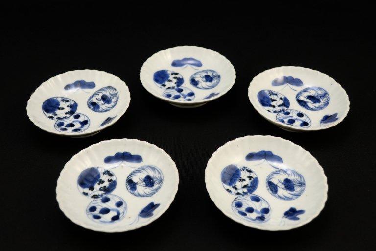伊万里染付丸文豆皿 五枚組 �/ Imari Small Blue & White Plates  set of 5