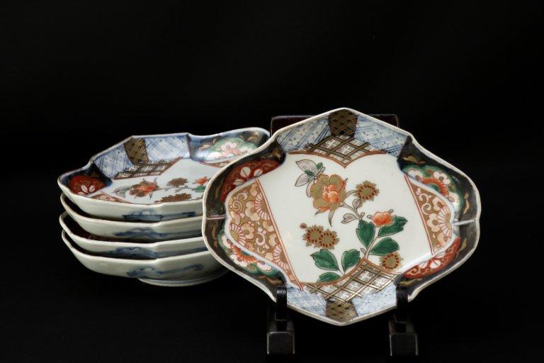 伊万里色絵菱形皿 五枚組 / Imari Diamond-shaped Polychrome Plates  set of 5