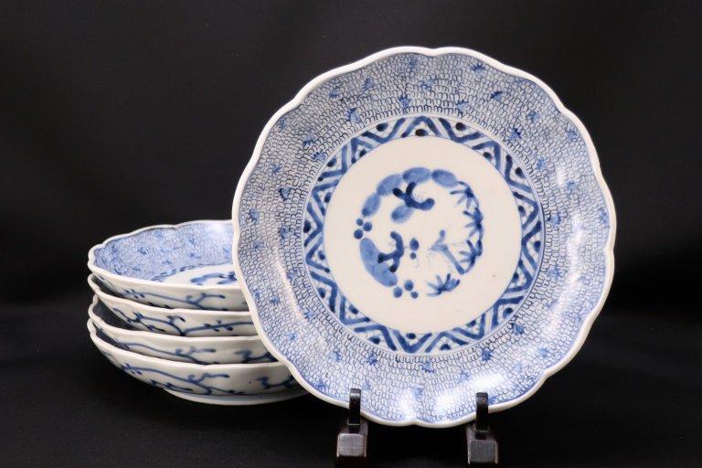 伊万里染付微塵唐草文七寸皿 五枚組/ Imari Blue & White Plates with the pattern of 'Mijinkarakusa'  set of 5