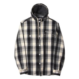 STANDARD CALIFORNIA スタンダードカリフォルニア SD Heavy Flannel Check Hood Shirt Black / Gray