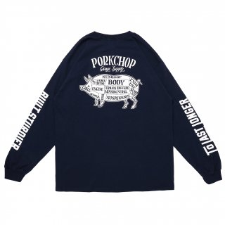 <img class='new_mark_img1' src='https://img.shop-pro.jp/img/new/icons5.gif' style='border:none;display:inline;margin:0px;padding:0px;width:auto;' />PORK CHOP GARAGE SUPPLY PORK BACK L/S TEE/NAVY