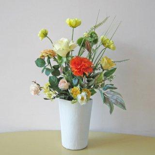 光触媒アートフラワーアレンジメント【モラール】オレンジのダリアが、元気をくれる造花アレンジです。