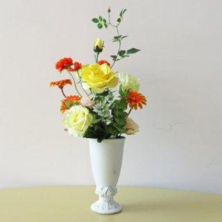 光触媒アートフラワーアレンジメント【フシグダー】伸びやかなバラと可愛いガーベラとラナンキュラスの、素敵な高級造花アレンジです。ミントも入って、ナチュラル感もあります。