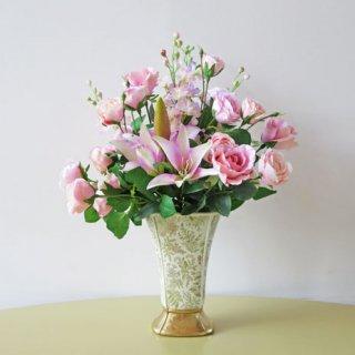 光触媒アートフラワーアレンジメント【ポルト】「優しさや慈しみの感情をもたらす」ピンクでまとめた、高級造花アレンジです
