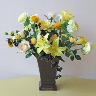 光触媒アートフラワーアレンジメント【ラック】黄色の色彩が綺麗な、高級造花インテリアです