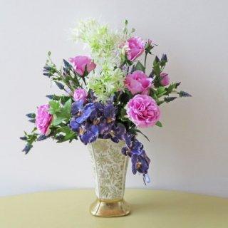 光触媒アートフラワーアレンジメント【オセアン】お洒落なパープルの胡蝶蘭をとラベンダー色のローズの高級造花アレンジです
