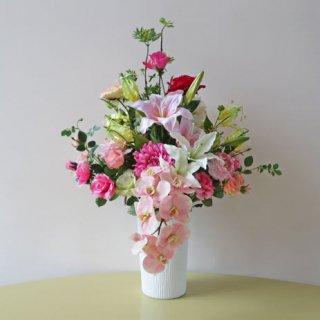 光触媒アートフラワーアレンジメント【クバ】18種の花材で、豪華にアレンジしました
