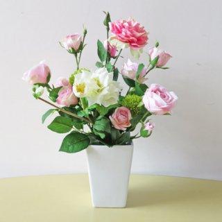 光触媒アートフラワーアレンジメント【ソフイア】八重咲きクリスマスローズとピンクのローズの高級造花アレンジです