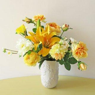 光触媒アートフラワーアレンジメント【ベローナ】開店祝いには黄色の高級造花アレンジが人気です
