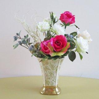 光触媒アートフラワーアレンジメント【スペリオル】開店・開院祝いに、オリーブとホワイトグリーンの薔薇などの高級造花アレンジです