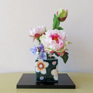 光触媒アートフラワーアレンジメント【高級造花インテリア・九谷焼(虚空蔵窯)ピオニー】大切な方へのギフトに