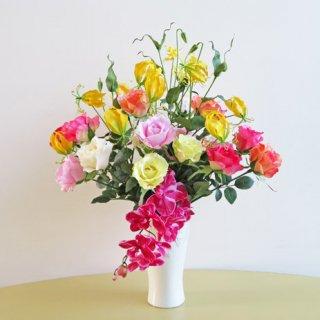 光触媒アートフラワーアレンジメント【ビアンベニュ】色を階層にした、優美な高級造花インテリアです