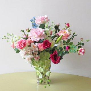 光触媒アートフラワーアレンジメント【ウンディーネ】リアルな胡蝶蘭などの高級造花を、少し横に広げてアレンジしてみました