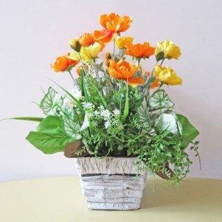 光触媒アートフラワーアレンジメント【カルタ】オレンジ色のポピーを使ったアレンジです。元気がでますよ!