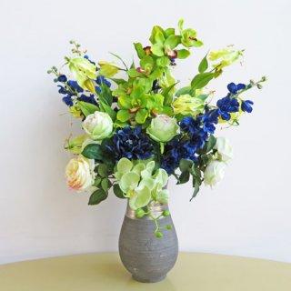 光触媒アートフラワーアレンジメント【ハウオリ】お互いを引き立ててくれる緑と青の組み合わせ