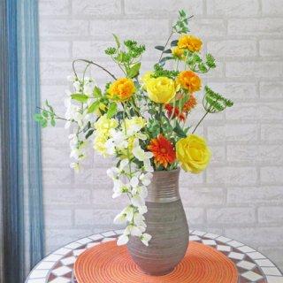 光触媒アートフラワーアレンジメント【ヒンメル】黄色とオレンジで元気をプレゼント!退職祝いやご長寿のお祝いに