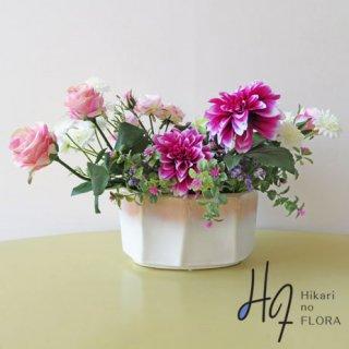 光触媒アートフラワーアレンジメント【プレセンテ】花器のグラデーションがキレイです!ダリアも素敵ですね。