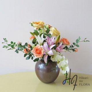 光触媒アートフラワーアレンジメント【絢】九谷焼産地さび釉薬仕上七寸花生に高級造花を零れるかのように。