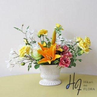 光触媒アートフラワーアレンジメント【ピクト】マーブルローズを含めたバラが素敵な、造花アレンジです。