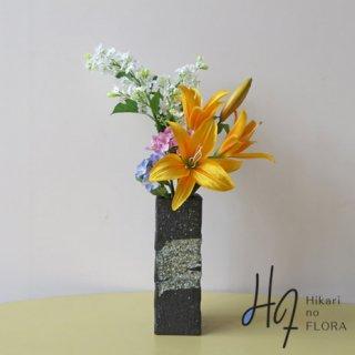 光触媒アートフラワーアレンジメント【古信楽】花器にもこだわった、和風アレンジメントです。