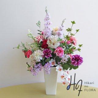 高級アートフラワーアレンジメント【シェリ】胡蝶蘭とダリアが素敵な高級造花アレンジメントです。