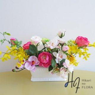 高級アートフラワーアレンジメント【ナーター】咲き方も色々です。お花を楽しめる高級造花アレンジです。