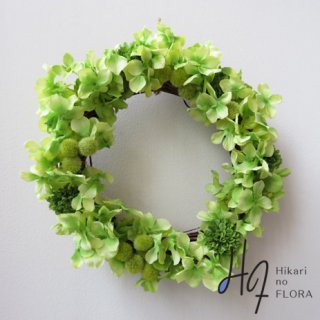 造花Wreath(リース・壁掛け)【グリーン系色のハイドレンジアリース】明るい壁掛けリースです。「退職祝い」や「新築祝い」に。