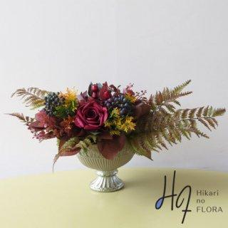アーティフィシャルフラワー・アレンジメント【エーベル】伝統的なヨーロピアンスタイル。高級造花インテリアをどうぞ。RYOKUEIオリジナル。
