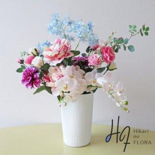光触媒アートフラワーアレンジメント【テェルマ】胡蝶蘭とダリアが飛びぬけて綺麗な、高級造花インテリアです。